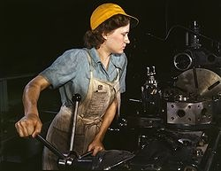 woman factory worker in 1940s