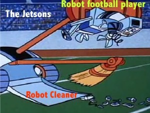 Jetsons cartoon showing a robot cleaner picking up broken pieces of a broken football player
